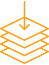3D stack of squares with down-arrow above