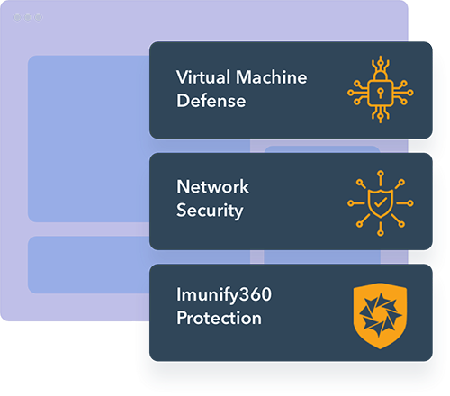panel view of virtual machine defense - network security - imunify360 protection