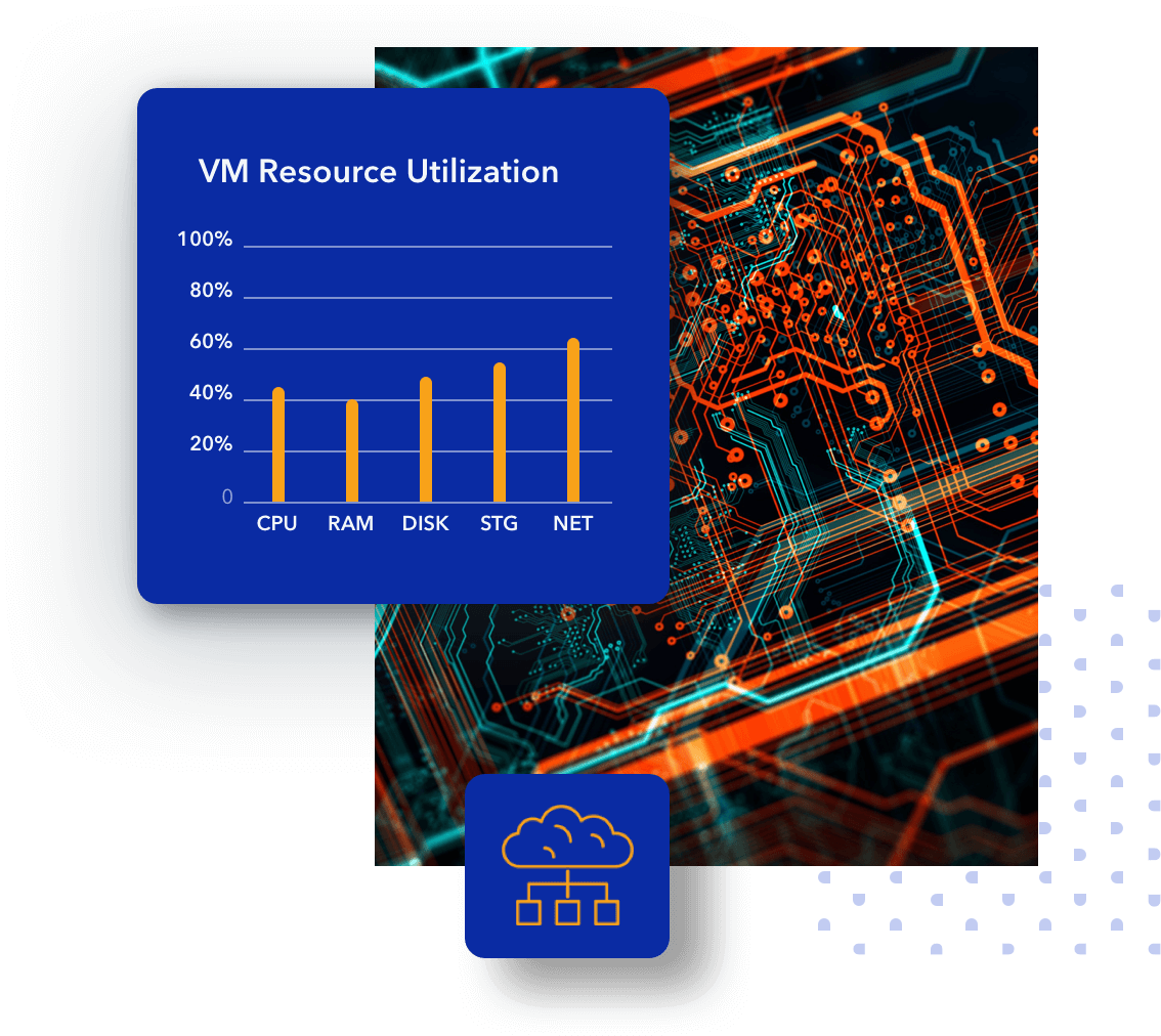 circuit board with resource utilization chart
