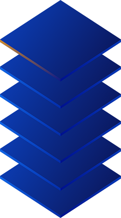 stylized stack of six squares